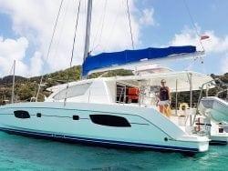 Side view catamaran at Anchor