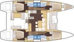 Lagoon 450F Layout 4 Cabin version